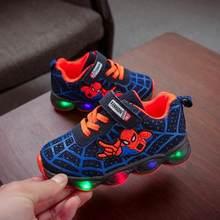 בני Sneaker בנות ספיידרמן ילדים Led נעליים עם אורות Sneaker 2019 אביב סתיו נעלי ילדים פעוט נעלי תינוקת(China)