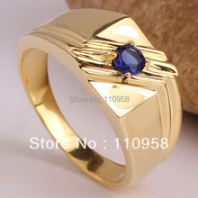 Red Ruby Green Emerald Blue Sapphire for Choice Yellow Gold Men's Sterling Silver Ring MAN Size10 11 12 13 Selectable R511G