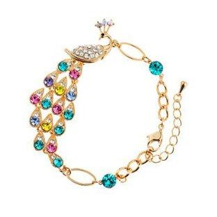 High quality Alloy 18K Gold Plated Luxury Crystal Peacock Bracelet Fashion Animal Bracelet Ban