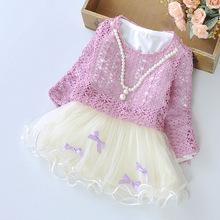 Girls Dress Violet Pearl Necklace Hollow Tutu Party Spring Autumn Baby Children Clothes Size 6M-24M(China (Mainland))