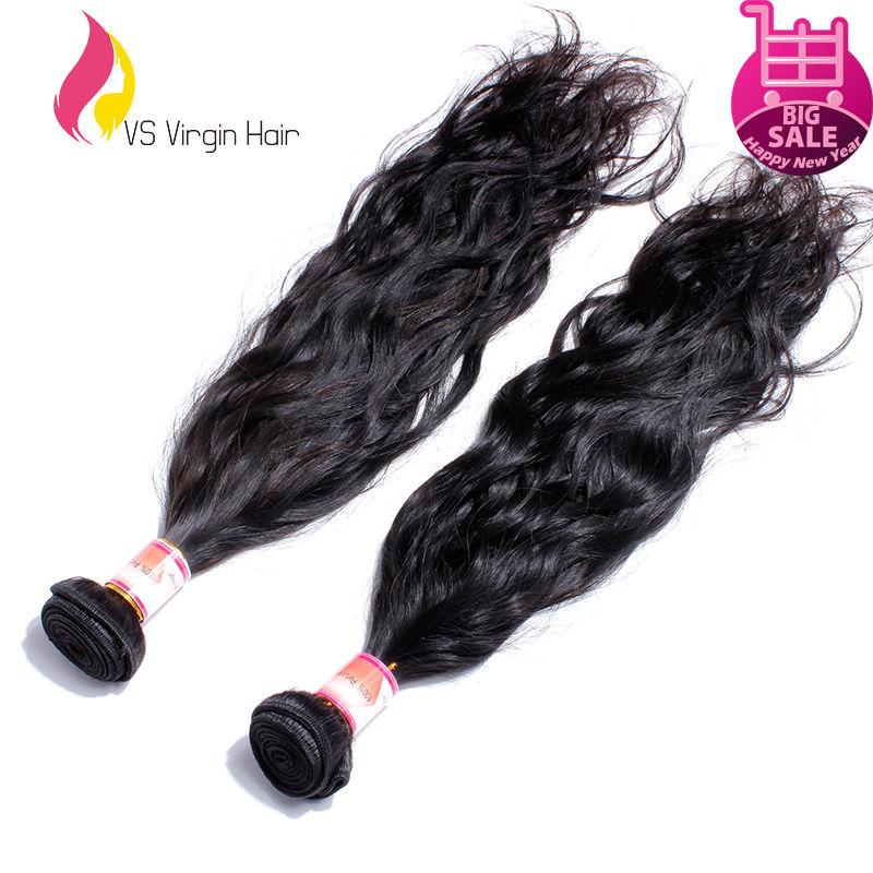 Unprocessed Virgin Peruvian Hair Extensions 2pcs Lot Natural Black 1b# Peruvian Natural Wave Human Hair Weave Bundles Dyeable