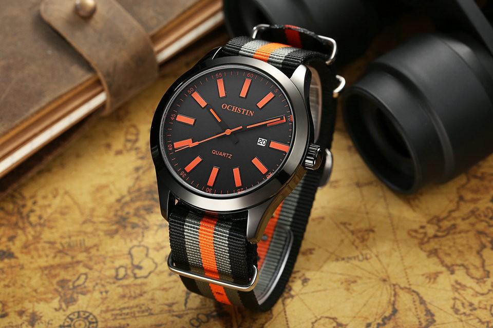 OCHSTIN мода мужские часы из нержавеющей стали мужские Кварцевые часы повседневная кожаный ремешок Спорт военные наручные часы relogio мужской