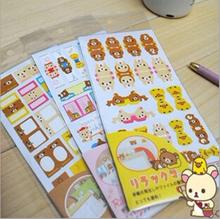 6sheets/lot New cute Rilakkuma bookmark sticker / paper index note label sticker H0926