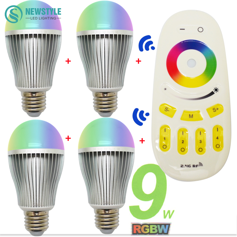 4 x 9W Smart RGBW LED Bulb E27 + 2.4G RF Remote Controller 16 million color Dimmable Mi.light LED Lamp set AC85-265V(China (Mainland))