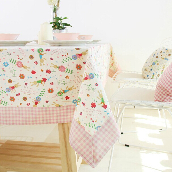 Pastoral Korean style thicker cotton active printing table cloth throws or dinner-table cloth with pink check border(China (Mainland))