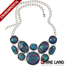 2015 Spring New Fashion Women Popular Colorful Lucite Geometrical Shape Chunky Choker Statement Necklace Jewelry(China (Mainland))