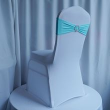 Tiffany Blue Elastic Stretch Chair Sash With Plastic Round Buckle For Wedding