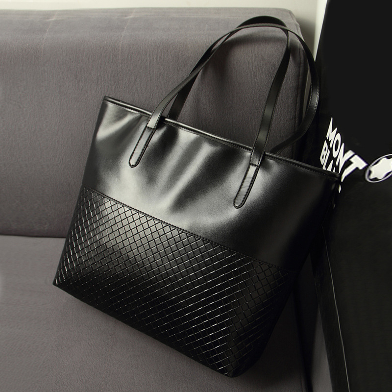 2016 Hot Women Summer Black PU Leather Bag Weave Pattern Handbags Vintage Clutches Messenger Female Shopping Tote Bags Hot(China (Mainland))
