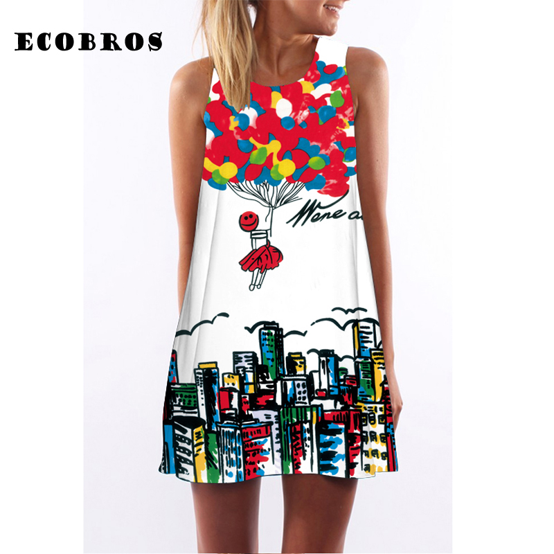 ECOBROS 2017 New Woman Summer Dress casual sleeveless Loose floral print knee dresses plus size woman clothing dress