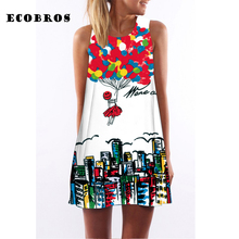 Buy ECOBROS 2017 New Woman Summer Dress casual sleeveless Loose floral print knee dresses plus size woman clothing dress for $7.99 in AliExpress store