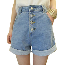 Blue high waisted jean shorts washed denim shorts for girls fashion button summer style plus size shorts for women
