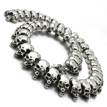 Cool!! Boys 316L Stainless Steel Polishing PUNK Gothic Skull Links Silver Jean Chain Newest Design(China (Mainland))
