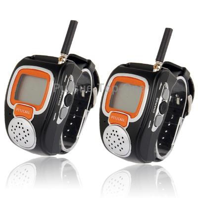 Pairs of 462MHz-467MHz Freetalker Watch Walkie Talkie 6km with Charger Headphones Backlight LCD display of Range US Plug(China (Mainland))