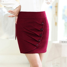New 2014 autumn women Woolen short skirt female medium skirt winter step skirt black /Wine red /blue bust skirt slim hip skirts