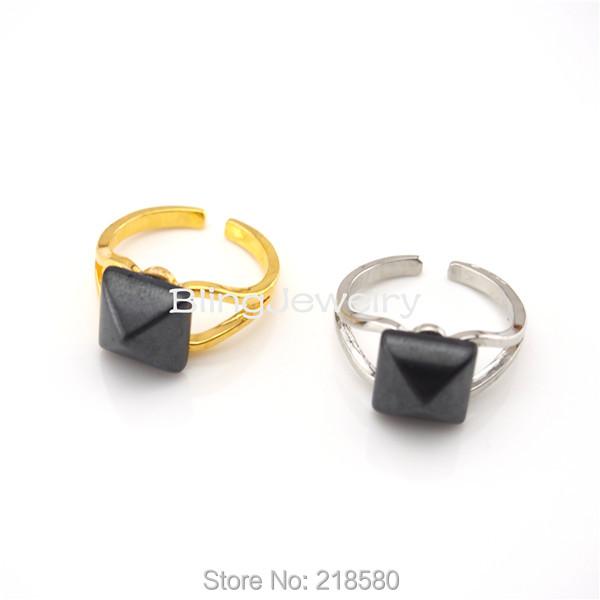 H-R01 Healing Stone Hematite Pyramid Ring Silver or Gold Adjustable Ring(China (Mainland))