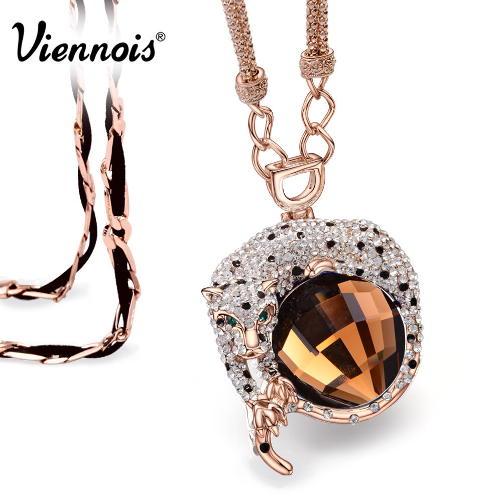 Viennois Fashion Jewelry Luxury Rose Gold Plated Leopard Long Necklaces for Woman Blue/Orange Crystal Full Rhinestone Pendants(China (Mainland))