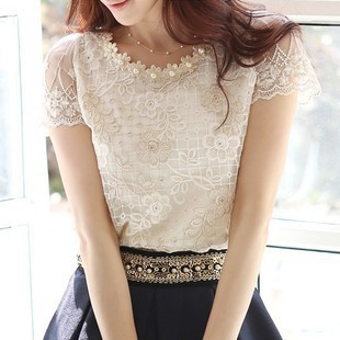 2015 new spring Summer women's chiffon shirts lace top beading embroidery o-neck blouses J8259(China (Mainland))