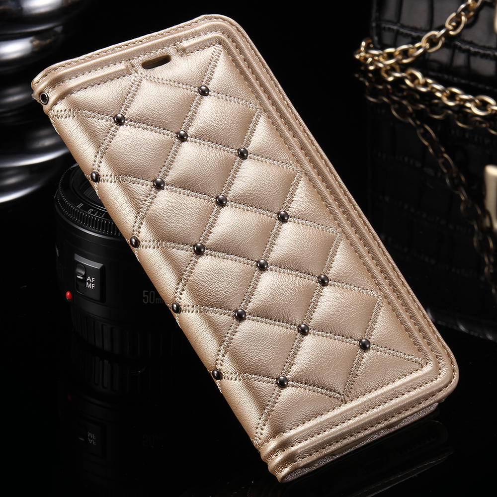 Newest 6S /Plus Flip Leather Case Gold Luxury Makeup Mirror Phone Cover For Apple iPhone 6 6s 6Plus Case Handbag Fundas Coque 6S(China (Mainland))