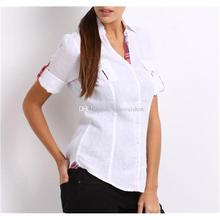 Breathable White Womens Casual Shirts Bodycon Patchwork Ladies Summer Shirts with Pockets Linen Material Hot Sale QR-0072(China (Mainland))