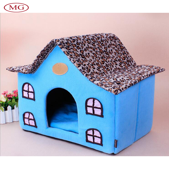 Leopard Pattern Roof Velcro Type Indoor Pet House with Cushion Foldable Fabric Kennels for Small/Meduim Puppy Dog or Cat(China (Mainland))