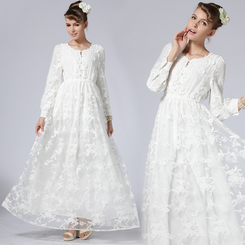 European and American fashion spring and summer new clothing women casual dresses Plus Size long sleeve white lace maxi dress(China (Mainland))