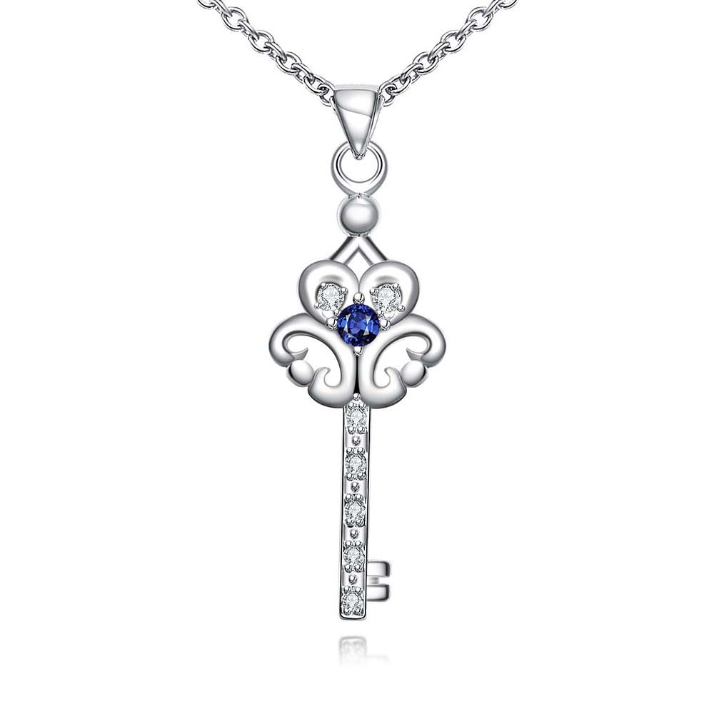 fashion silver flower key zircon pendants necklaces 925 sterling sivler women accessories natural stone jewelry necklaces(China (Mainland))