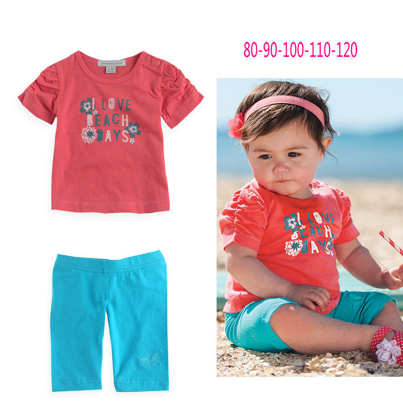 Discount Baby Girls Short Clothing Set Print T Shirt+pants Chidlren Girls Summer Clothing Sets Girls Fashion Clothing Suit(China (Mainland))