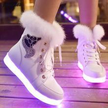 Tamaño 35-40 mujer tobillo botas de nieve 2016 de invierno/otoño ladies led luz martin botas de mujer de marca gruesa warm zapatos luminosos y106(China (Mainland))