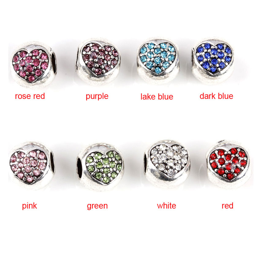 free shipping 1pc silver double heart crystal 9 colors can choose European red double heart Fits Pandora Charm Bracelets A133(China (Mainland))