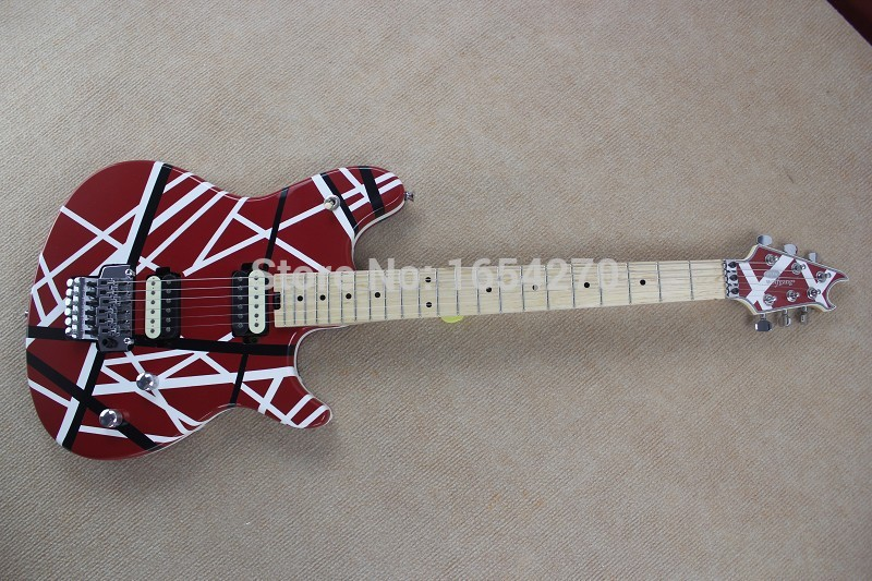 High Quality - New Arrival EVH Wolfgang Custom Shop Electric Guitar in red white line wholesales Free Shipping 150604(China (Mainland))