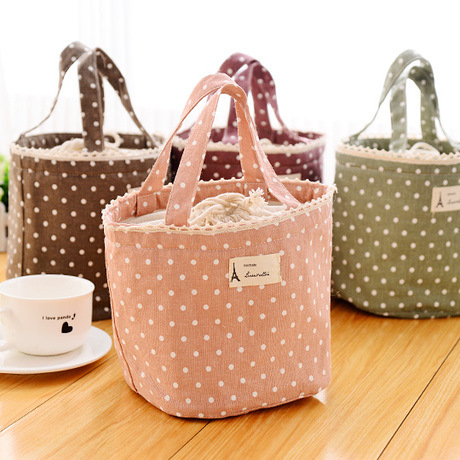 new and fresh lunch bag pouch Dot Cotton outdoor picnic thermal food bag PACKER for women and kids 4 colors(China (Mainland))