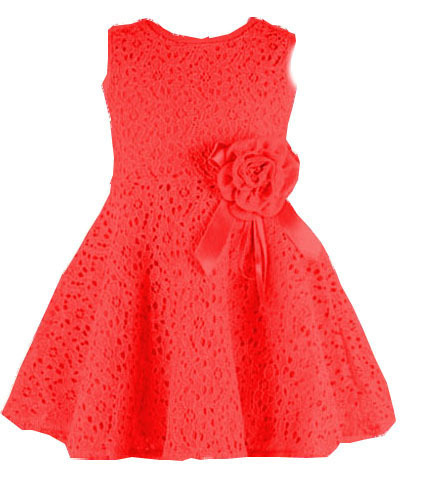 (LUCKY STORE) baby girls dress lace flowers dresses pink/ white/red color to choose vestidos infantis(China (Mainland))