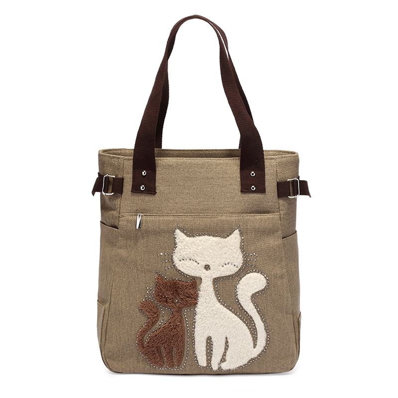Print Cat Bag 2016 Women Big Lunch Tote Canvas Zipper Pouch Vintage Portable Canvas Lunch Bag Saco Casual Cute Cat Shoulder Bag(China (Mainland))