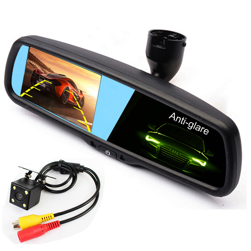 Latest 4.3 inch Auto Dimming Rearview Car Mirror Parking Monitor, 2 RCA Video Input For Rear View Camera With Special Bracket(China (Mainland))