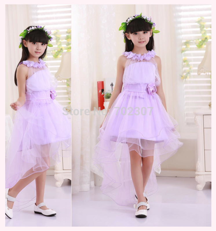 Wholesale 2014 New Hot Girl purple Tailing clothes Lace flower wedding Girl kids Party dress  free shipping  TY-15<br>