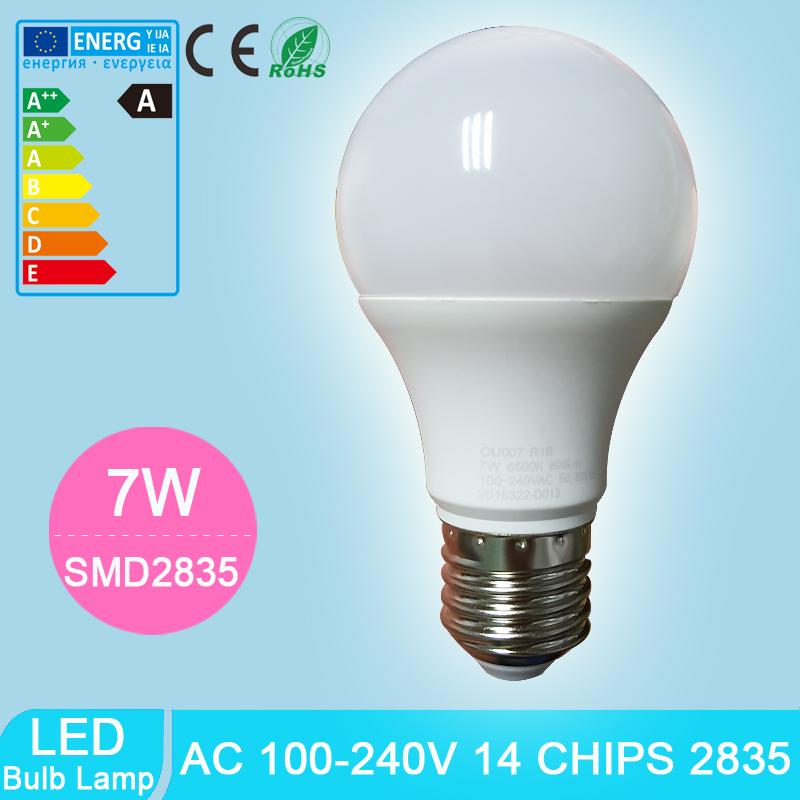 Wholesale Cheap LED Bulbs E27 Globe Light Bulb 7W 100-240V SMD2835 Super Bright LED Lamp NON-Dimmable Energy-saving Light(China (Mainland))