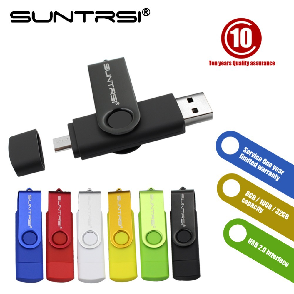 Suntrsi OTG USB Flash Drive USB 2.0 Pen Drive Smartphone Pendrive Flash Memoria USB Stick Micro USB Portable Storage(China (Mainland))