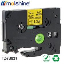 "Buy Molshine 20pcs TZeS631 Compatible Label Tape Brother TZe-S631 TZ-S631 TZS631 Black Yellow (0.47'' 1/2"" 12mm) 8m for $88.45 in AliExpress store"