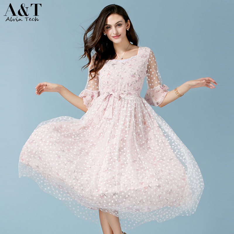 Hot Women 2016 Summer Lace Dresses Girls Cute Lolita Pink Floral Prints Chiffon Embroidery Flare Sleeve Long Dresses Plus size(China (Mainland))