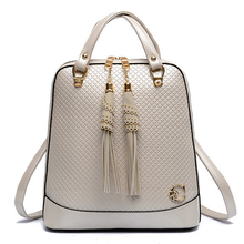 2015 New Arrival Women Backpack With Tassel Multifunctional Women Leather Backpack Fashion Shoulder Backpacks For Teenage Girls(China (Mainland))