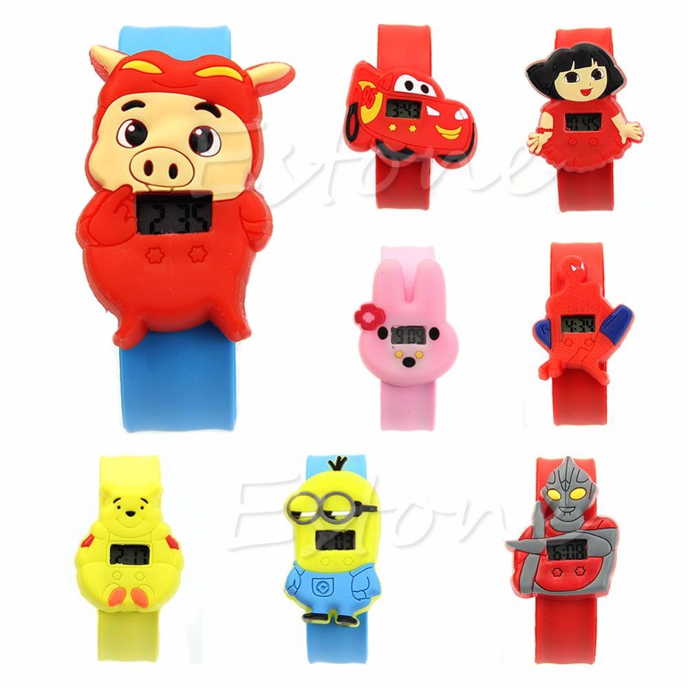 Cute Cartoon Unisex Child Kids Sports Bendable Rubber Strap Quartz Wrist Watch