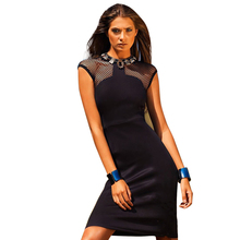Best deal Free Shipping!!!2016 New Sexy Women Girl High Quality Grid Simple Round Neck Sleeveless Dress Party Dress For Women