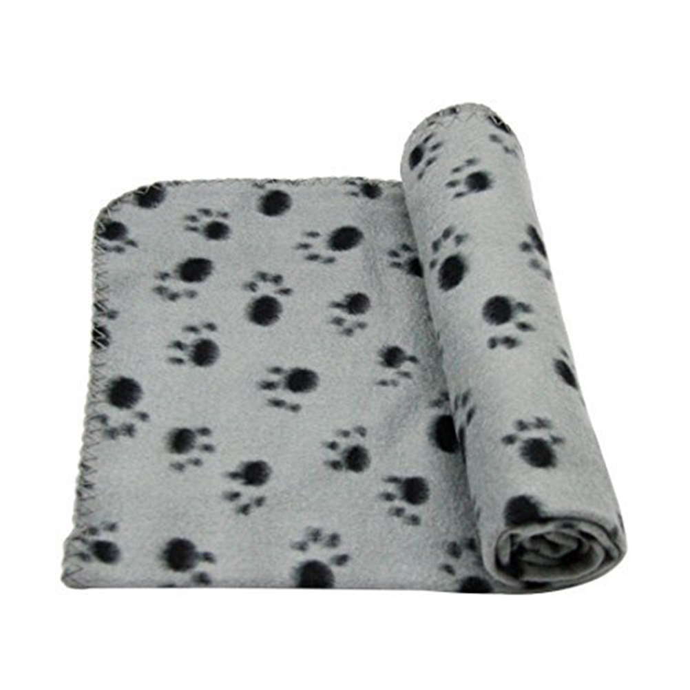 3 ColorsCute Paw Print Coral Fleece Cat Puppy Dog Blanket Dog Bed Mat Cushion Soft Warm Comfortable Pet Kennel Cage Pad(China (Mainland))