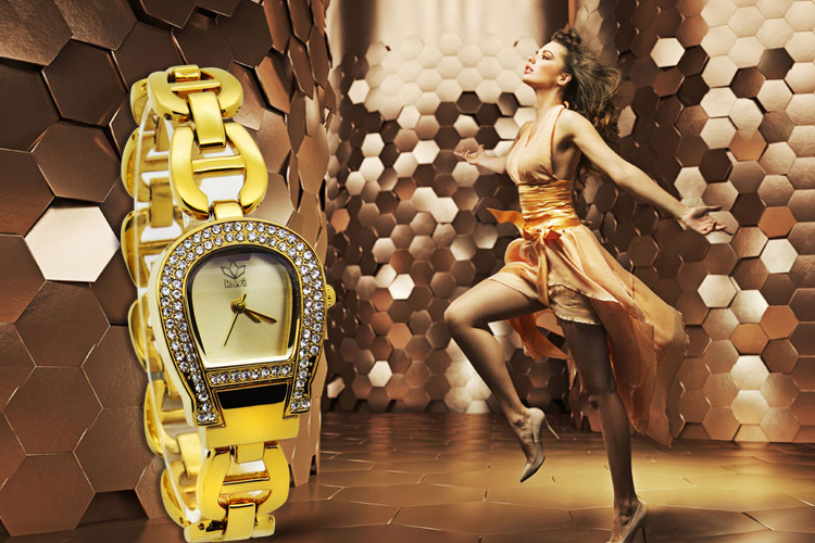 Luxury Women Summer Fashion Gold Bracelet Watches Blingbling Crystals Dress Wristwatch Irregular A Case Analog Relojes NW3486<br><br>Aliexpress