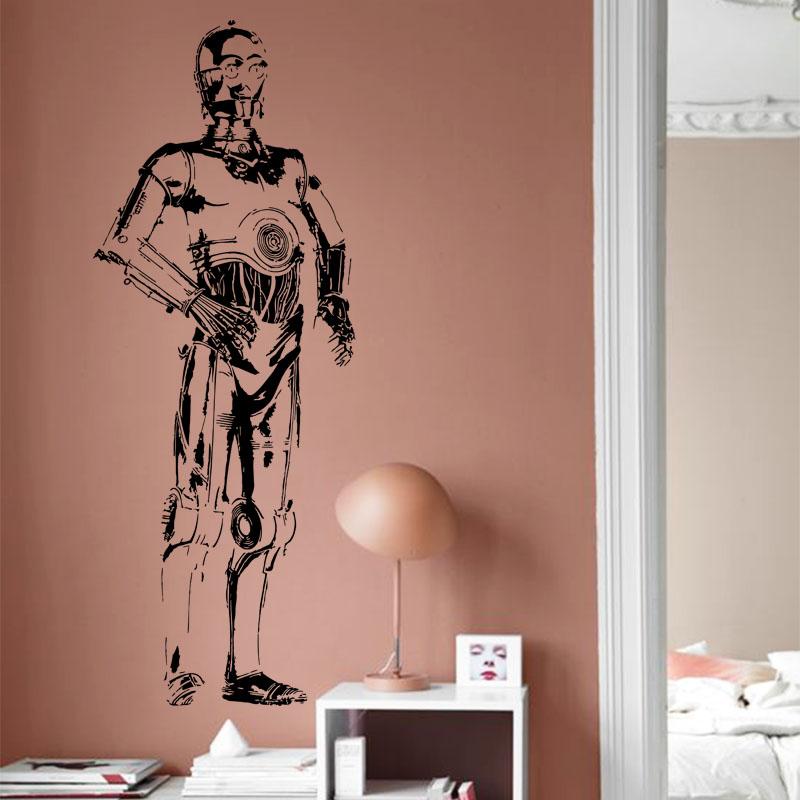 art design cheap home decoration vinyl star war film c3po. Black Bedroom Furniture Sets. Home Design Ideas