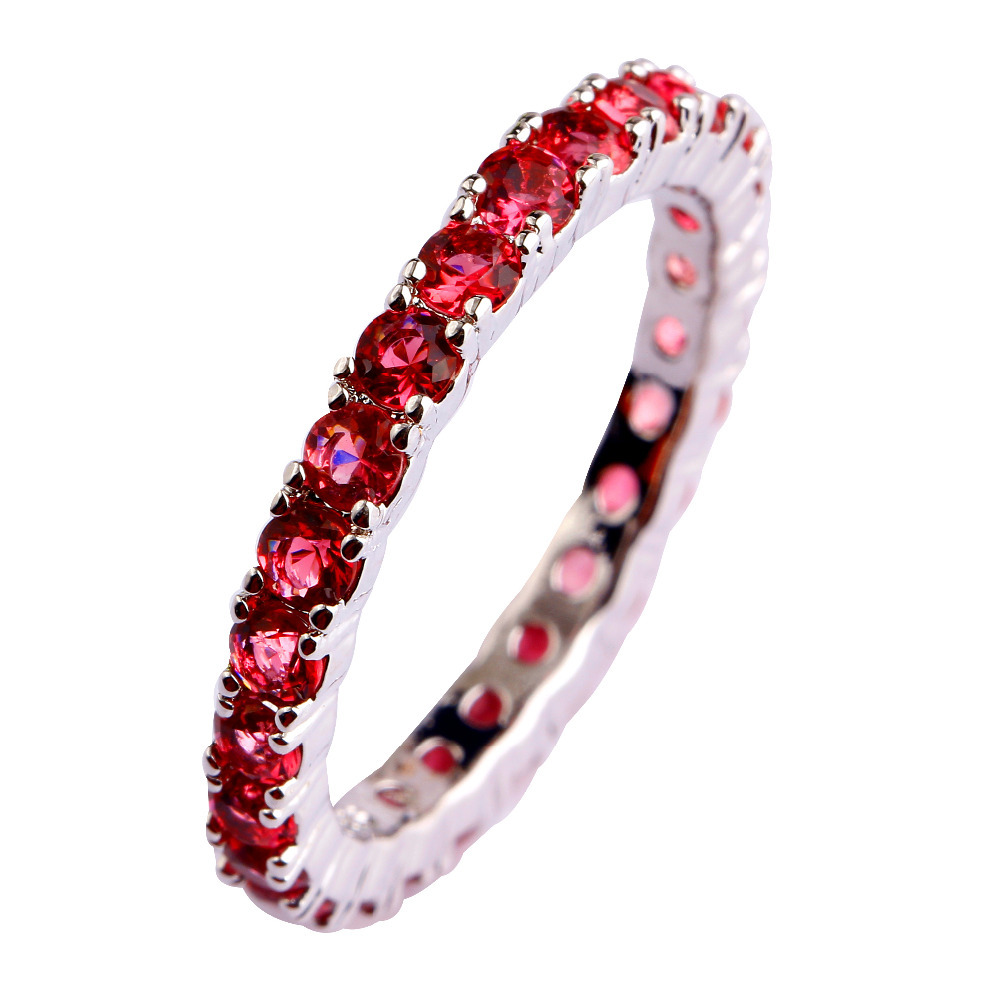 WY 2016 Women New Fashion Party Jewelry Elegant Red Ruby Spinel Silver Ring Size 6 7 8 9 10 11 12 13 - HI jewelry Co., Ltd. store