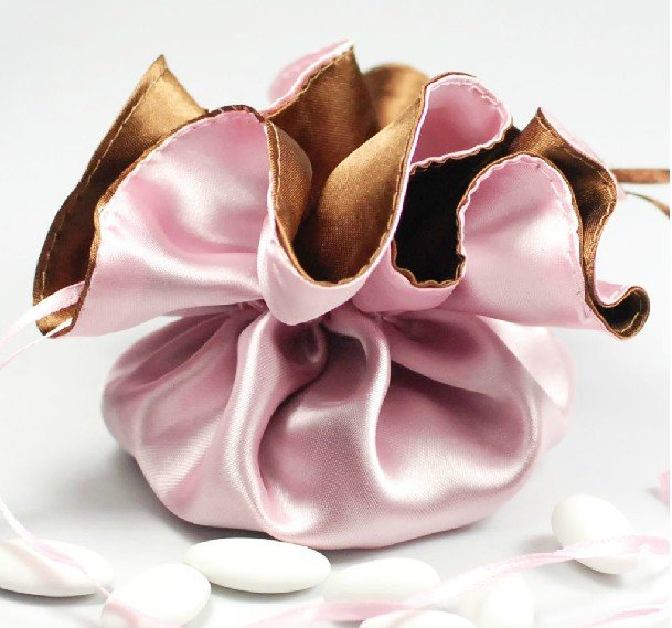 4 Pink& Coffee Satin Wedding Candy Pouch/Box,Gifts Packing,Favor Holder TD-XK001 - Minling Favors store