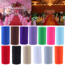 Top quality 26.7X15cm Colorful Tissue Tulle Roll Spool Craft Wedding Party Decoration Organza Sheer Gauze Element Table Runner (China (Mainland))