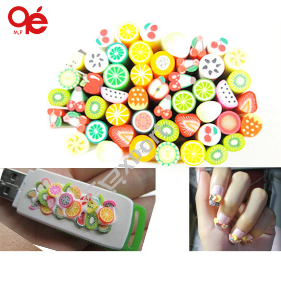 40Pcs/Pack Polymer Clay Nail Art Stickers Cane with Fruit and Flower Design(China (Mainland))