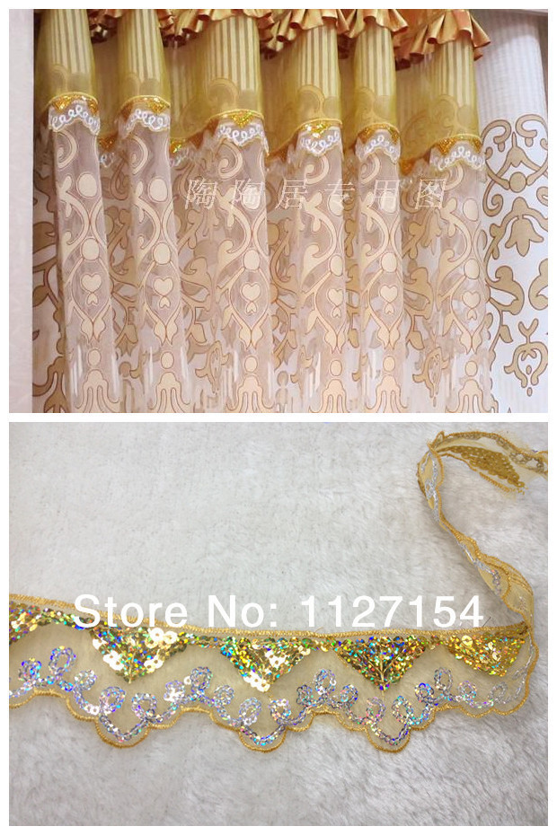 Delicate Lace Trimming Applique Paillette And Tulle Window Curtain Lace Decorative Curtain
